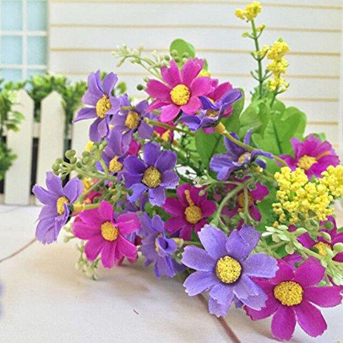 Nuohuilekeji 1 ramo de 28 cabezas de flores artificiales de margarita para el hogar, cafetería, decoración de boda, Lightpurple, talla única