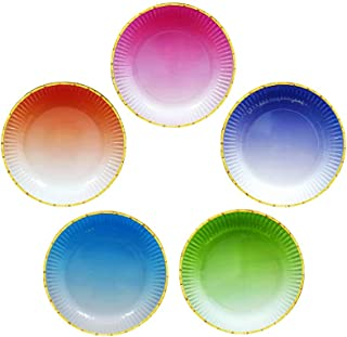 Ottin Ombre Rainbow Party Supplies 9'' 60 counts 5 Mixed Colors Assorted Disposable Plates for Parties Rainbow Party Colorful Birthday for Kids Wedding Bridal Shower New Year Christmas