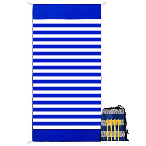 YZCX Asciugamano da Spiaggia in Microfibra XXL 180x90cm Teli Mare Asciugatura Rapida Leggero Coperta da Viaggio con Custodia e Chiodi da Terreno per Palestra, Yoga, Nuoto, Campeggio (Blu)