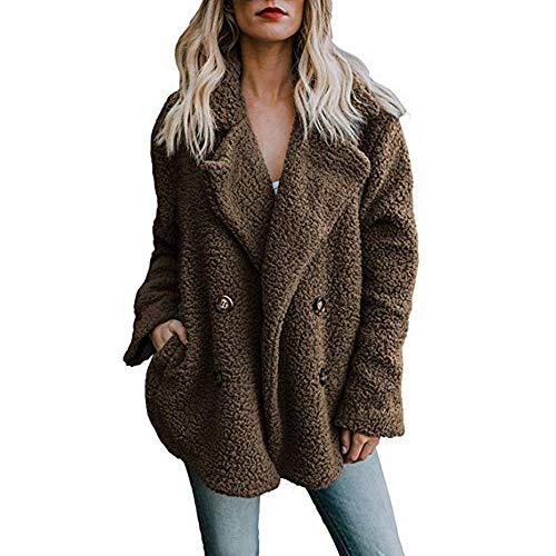 Lomelomme Plüschjacke Lang Damen Winter Warm Freizeitjacke Parka Outwear Damen Mantel mit Tasche Große Größen Dufflecoat Revers Wollmantel für Damen Doppelten Breasted