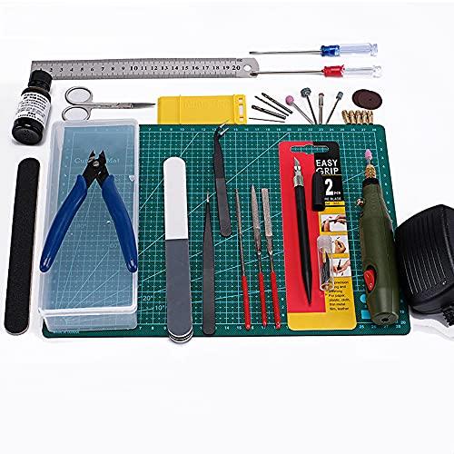 Un conjunto completo de kits de herramientas de modelo, reparación y fijación, utilizado para construir modelos básicos, herramientas de modelo, kit de manualidades de herramientas de construcción de