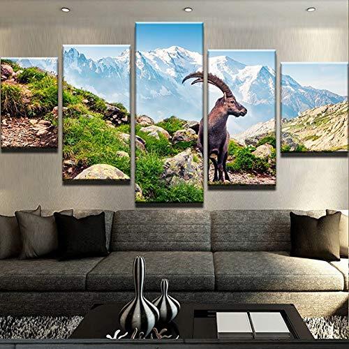 Eotifys Arte de la Pared Sala de Estar Impreso Imágenes Cartel 5 Panel Cabra Animal Plateau Modern HD Framework Decoración del hogar Pintura de la Lona