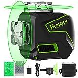 Huepar 2x360° レーザー墨出し器 グリーン 緑色 レーザー クロスライン 自動水平 高輝度 高精度 ミニ型 3電源方式 充電可能 S02CG