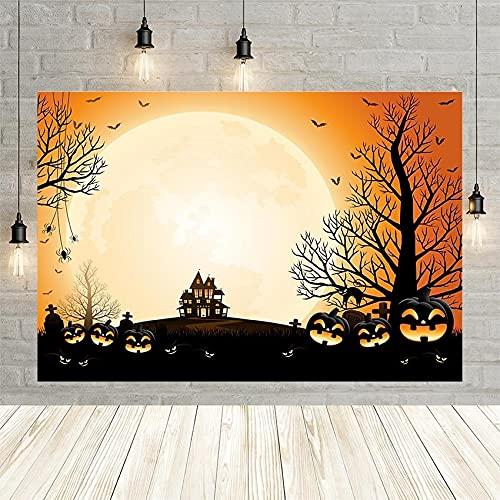 Fondo de fotografía Fiesta de Halloween Telón de Fondo Banner Niños Castillo Selva Luna Linternas de Calabaza Estudio fotográfico A1 7x5ft / 2.1x1.5m