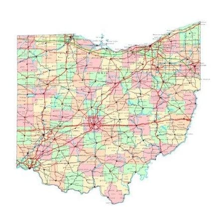 Ohio State Road Map City County Columbus Oh Vivid Imagery Laminated Poster Print-20 Inch by 30 Inch Laminated Poster With Bright Colors And Vivid Imagery