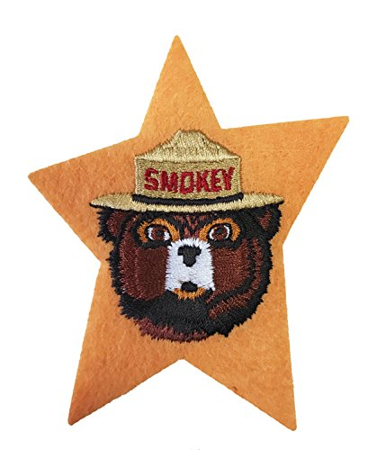 Smokey The Bear Vintage Prevent Forest Fires Iron on Patch - Yellow Star Smokey Bear Face Logo