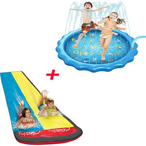 BWBG Splash Pad Play Mat+Pista Deslizante Agua, Tapete De Juegos De Agua 170cm Aspersor De Juego 4.8M Tobogan De Agua De Cesped Chapoteo Almohadilla para Familiares JardíN/Fiesta/Playa