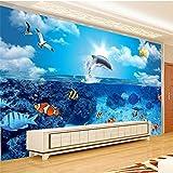 PJX Fondo de pantalla de fotos bajo el agua del mundo delfín globo de niños habitación TV set papel de parede 3D Wallpaper-1 metro cuadrado price300cmx210cm