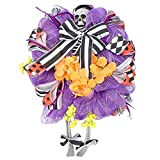 JIUYECAO Guirnalda de Halloween con diseño de calavera para puerta, corona de Halloween con lazo a rayas, decoración de pared