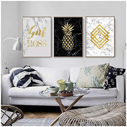 zhaoyangeng geometrische print marmer abstracte kunst goud diamanten zwart wit gestructureerde muur minimalistische poster canvas schilderij - 50X70Cmx3 stuks geen lijst
