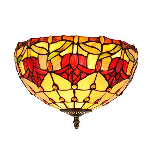 DALUXE Lámpara de Techo de Estilo Tiffany, Sombra de lámpara de Cristal de 12 Pulgadas, luz de Techo de iluminación de Bricolaje, Adecuado para habitación