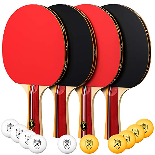 OlymOlym Ping Pong Paddle and Table Tennis Set Pack of 4 Premium Rackets and 10 Table Tennis Balls Ideal for Team Play and Family Games
