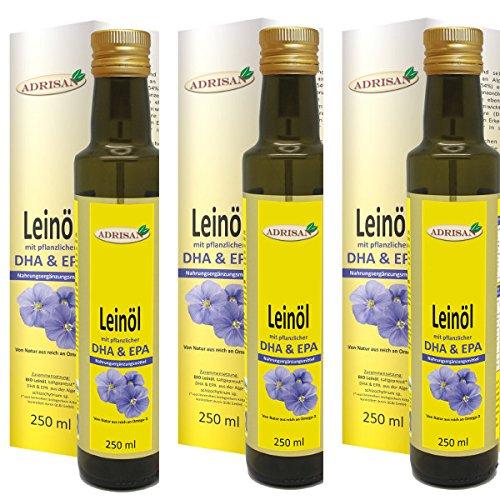 Adrisan Leinöl mit DHA EPA - 3er Pack (3x 250 ml) - Nahrungsergänzungsmittel