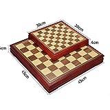 Conjunto de ajedrez clásico Abedul ajedrez con almacenamiento de ajedrez Tablero de ajedrez de madera de abedul tablero de ajedrez Juego de mesa Juego para adultos y niños ( Color : Wood , Size : M )