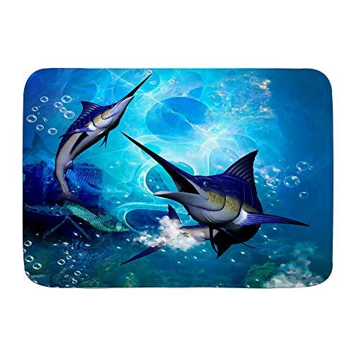 VAMIX Badematten Marlin,45x75cm Badematte rutschfest Waschbar Badezimmer Teppich Weiche Hochflor Badvorleger aus