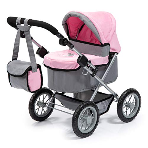 Bayer Design 13008Aa, Cochecito, Carro Muñecas Trendy, Plegable, Gris, Rosa, Color