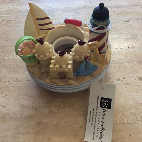 Home & Interiors Candle jar topper fits Yankee candle jar beach lighthouse boat sand castle new