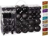 Brubaker Set di 101 Accessori Decorativi per L'Albero di Natale - addobbi Natalizie in Color Nero - Diverse Forme di Palline ed Un Puntale per Albero di Natale