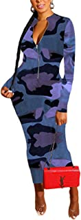 IyMoo Women's Bodycon Camo Midi Dress Crew Neck Fitted Dresses Long Sleeve Sexy Pencil Dress Party Clubwear