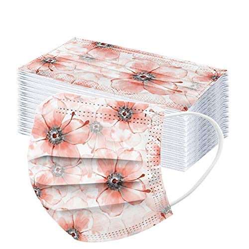 50pcs Floral Disposable Face_mask. with Designs for Women Girls Adults Cute Colored Paper_Face_mask for Coronɑvịrus Protection Breathable 3 Layers with Nose Wire for Outdoor (50, Pink #3)