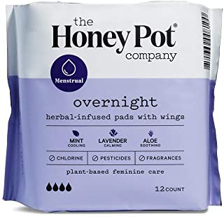 Honey Pot Overnight with Wings Herbal-infused, 12 Pads (Pack of 2)