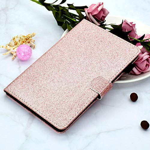 CaseFun Hulle fur Samsung Galaxy Tab A7 104 2020 T500T505T507 Glitzer PU Leder Tasche Hulle Etui Schutzhulle Case Cover Bookstyle Lederhulle mit Standfunktion Rosegold