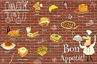写真の壁紙3D壁画バーガーピッツェリアヴィンテージレンガ壁背景壁現代のHdポスター大きな壁のステッカーツーリング壁アート装飾壁の装飾-137.8x98.4inch