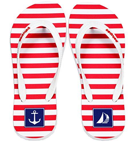 Palupas Bootsschuhe für Damen mit Motiv Red Stripes - Maritime Yacht Kleidung