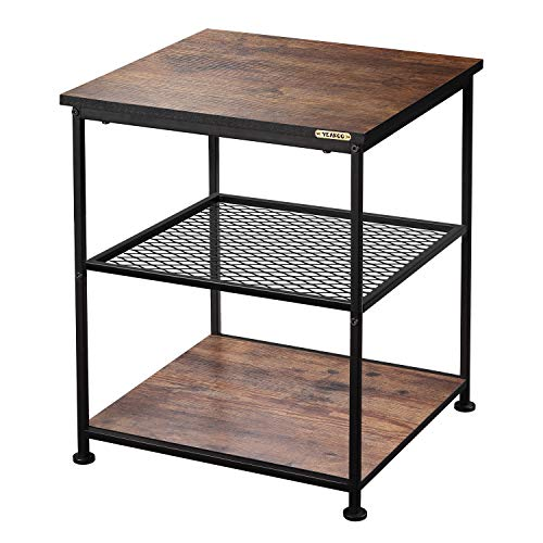 YEAKOO Industrial End Table, 3-TierSquare Side Table with Metal Frame & Storage Shelves, Home Office Living Room Bedroom Nightstand Sofa Table Wood Look Accent Furniture,Vintage Brown