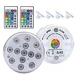 MagiDeal IP68 Impermeable Piscina lámpara LED Funciona con batería luz subacuática RGB Control Remoto - 2 Sets