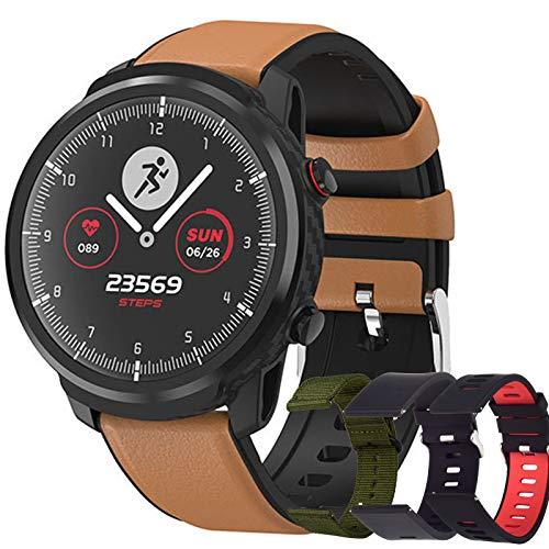 Reloj Inteligente Hombre, Smartwatch de Pantalla Táctil Ccompleta Impermeable IP68, Pulsera de Actividad Inteligente con 9 Deportes, Pulsómetro,Sueño,GPS,Caloría,4 Correas, iOS y Android