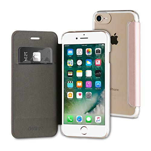 desire2 roségouden iPhone 7/6S Wallet Folio Case + getemperd displaybeschermfolie