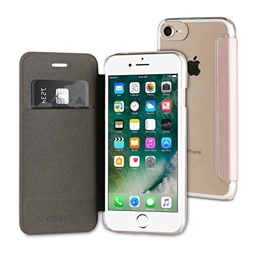 desire2 roségouden iPhone 7/6S Wallet Folio Case + getemperd displaybeschermfolie