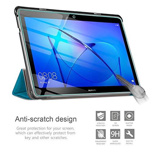 AROYI Hülle und Panzerglas kompatibel mit Huawei Mediapad T3 10, Schlank Schutzhülle Hochwertiges PU mit Standfunktion Glas Panzerfolie für Huawei Mediapad T3 10 Blauer Pfau