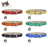 YHmall 6er Katzenhalsband, mit Glocke und Schnalle, Verstellbar 20-30 cm, Coole Halsbänder für...
