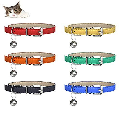 YHmall 6er Katzenhalsband, mit Glocke und Schnalle, Verstellbar 20-30 cm, Coole Halsbänder für Hauskatzen, Kleine Hunde MEHRWEG (A7)
