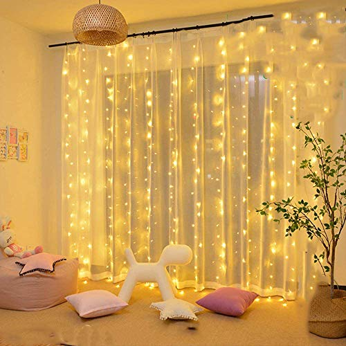 KNONEW 300 LED Window Curtain Lights,8 Modes, LED String Fairy Light Plugin for Indoor Outdoor, Wedding Party/Christmas/Halloween/Party Backdrops/Gazebo (Warm White)