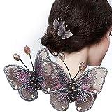 Pasador de mariposas Broche para el pelo con mariposas de hilo de seda bordado Accesorios para el cabello Herramientas de belleza