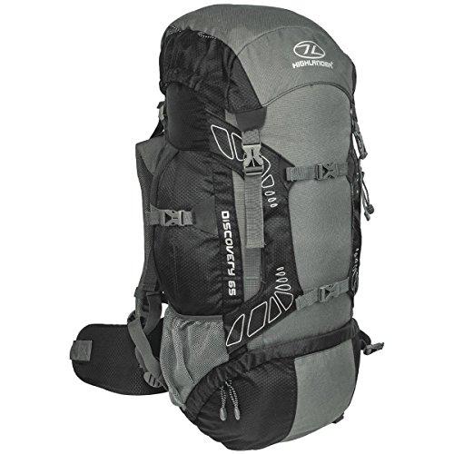 """Highlander 65 Liter Discovery Rucksack Leichter Wanderrucksack mit wasserdichter Hülle - Ideal zum Wandern, Reisen, Trekking, Camping und """"D of E"""" - Schwarz"""