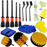 KKmoon 17 Piezas Set de Cepillo Limpieza Coche Herramientas de Cepillo de Limpieza Juego de Cepillo de Lavado de Coche que Funciona con Taladro Eléctrico