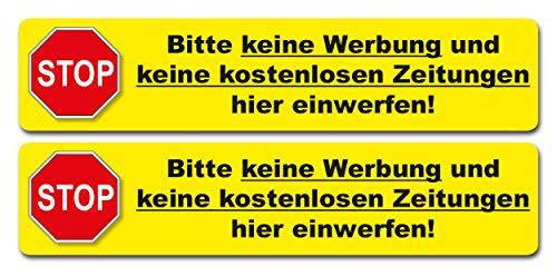 2 Aufkleber - Bitte keine Werbung und keine kostenlosen Zeitungen. 140 x 30 mm - Vinyl in gelb