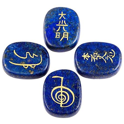 rockcloud Healing Crystal Lapis Lazuli 4pcs Engraved Chakra Stones Palm Stone Reiki Balancing
