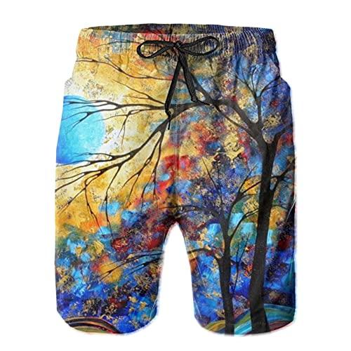 mengmeng Cuchillo de paleta abstracto paisaje de los hombres trajes de baño de la tabla pantalones cortos de playa pantalones de natación surf Boardshorts