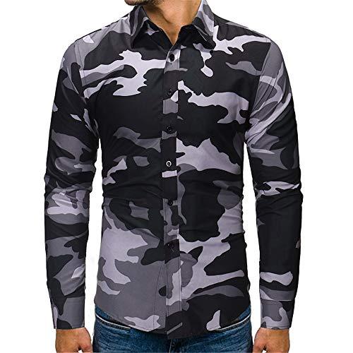 BEIXUNDIANZI Getäfelte Langarm Jacke Jacke, 2019 Men Camouflage Langarm-Sweatshirt mit Kapuze Tops Jacke Mantel Outwear ZZ-Gray L