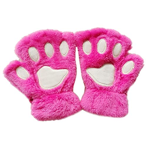 Yunso Damen Winter Handschuhe Damen Winter Handschuhe Plüsch Katzenpfoten Fäustlinge Dick halbe Fingerhandschuhe warme (Rose Rot)