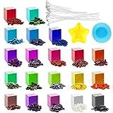 Retazly Tintes para Velas, 20 Colores DIY Tinte de Cera Kit con 2 Molde y 20 mechas de Vela, Colorantes para Hacer Velas para Cera de Soja/Parafina/Cera de Abejas (100g)
