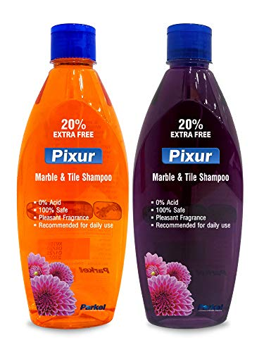 Pixur Marble And Tile Shampoo Combo Pack Of 2 Pcs x 600ml (Orange & Deo Fresh) / Floor Cleaner / Thick Liquid / 0% Hcl Acid / Safe On All Type Floor / Eco Friendly / No Harmful Chemicals / For Home,Office,Kitchen,Bathroom