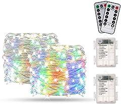 Guirnalda Luces Multicolor 10M 100 LED, BAKTH Cadena de Luces Impermeable IP67, Luces Navidad Pilas y Luces de Hadas para Decorativas, Navidad, Habitacion, Fiesta, Jardín, Bodas, Césped