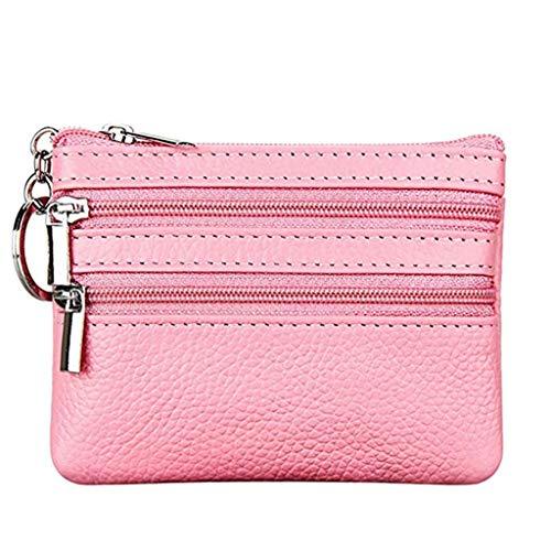 Cartera Monedero Pequeñas Piel Genuino Slim Portatarjetas Mini Cremallera con Ilavero para Mujer (Rosado)