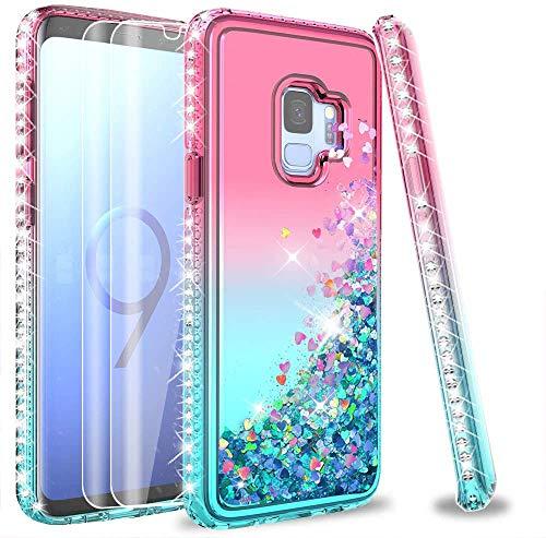 LeYi Kompatibel mit Galaxy S9 Hülle (nicht passend für S9 Plus) mit 3D-PET-Displayschutzfolie [2 Stück] für Mädchen und Frauen, Glitzer-Handyhülle für Samsung Galaxy S9 Rosa/Blaugrün